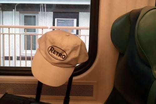 Retro Roadmap Hat on the Train to NYC