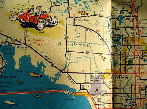 Retro Roadmap vintage USA Road Trip Map
