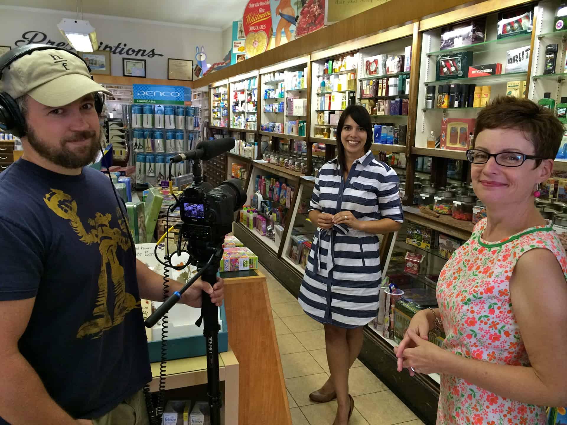 Adams & Bright Drug Store Retro Roadmap Video Shoot