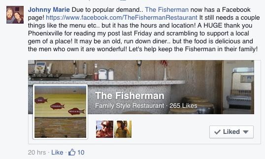 Fisherman Restaurant Phoenixville Facebook Page