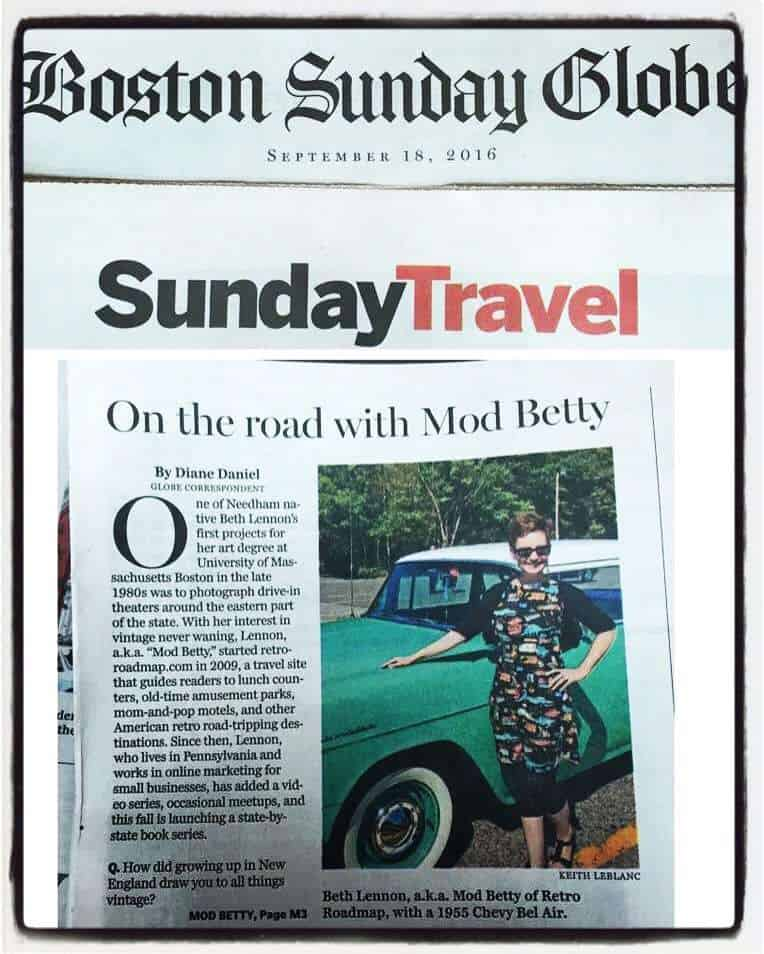 Retro Roadmap Boston Globe Mod Betty 2016 Sunday Travel