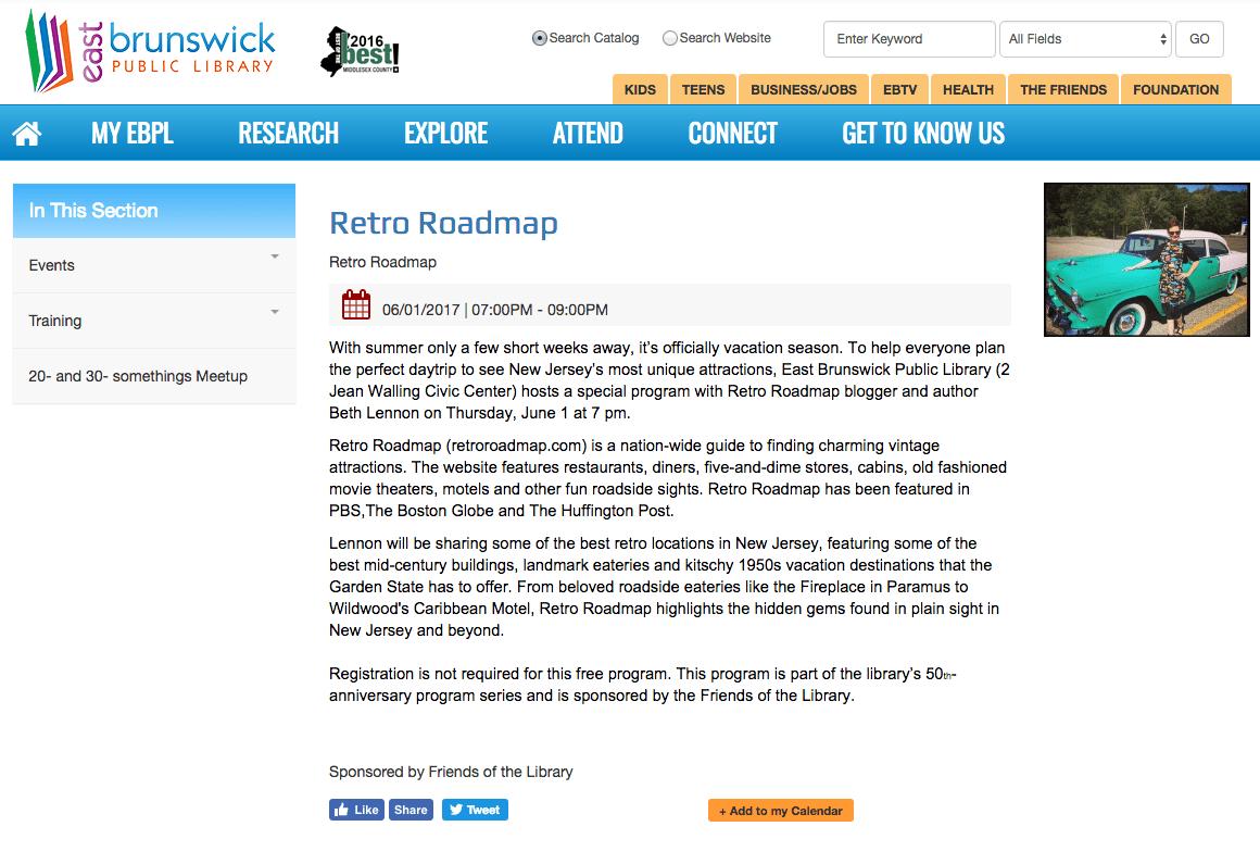 Retro Roadmap New Jersey East Brunswick Mod Betty