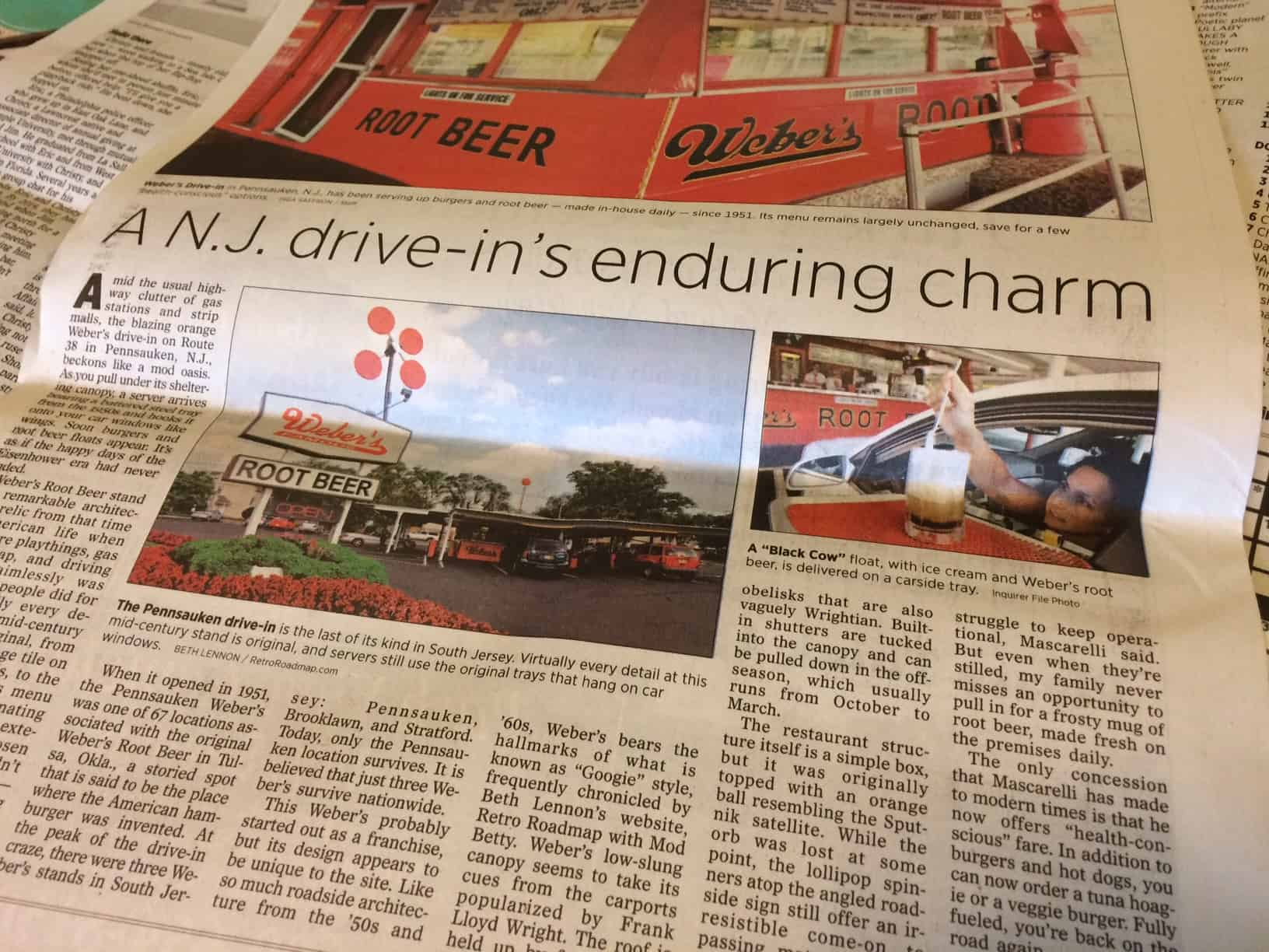 Retro Roadmap Philadelphia Inquirer Webers Drive In Pennsauken