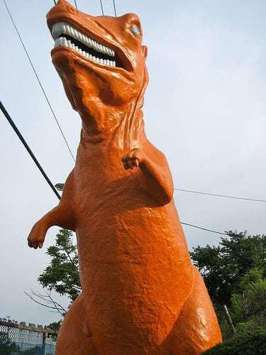 Route 1 Mini Golf Saugus MA Orange Dinosaur