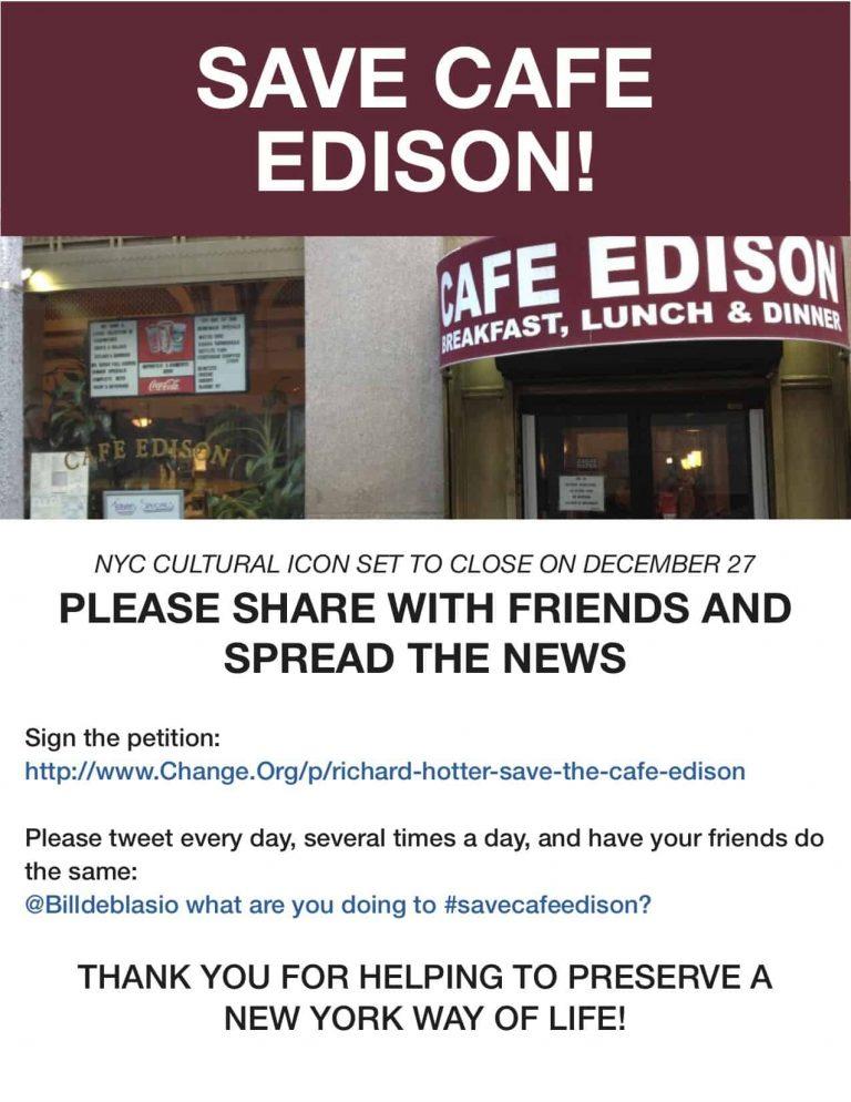 Save Cafe Edison Flyer
