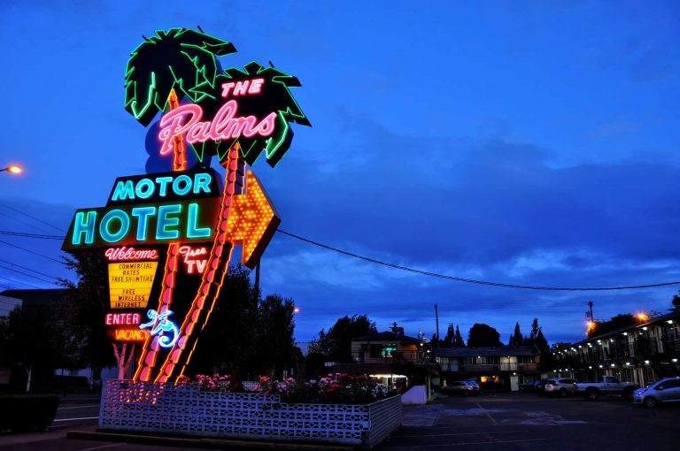 The Palms Motor Hotel Neon Sign Portland OR 2015 Retro Roadmap