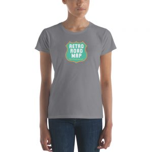 Retro Roadmap T-Shirt Tee Shirt Aqua Logo Ladies Storm Grey