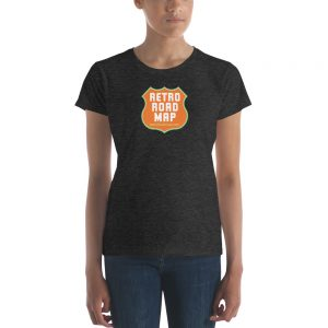 Retro Roadmap T-Shirt Tee Shirt Orange Logo Ladies Heather Grey