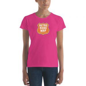 Retro Roadmap T-Shirt Tee Shirt Orange Logo Ladies Pink