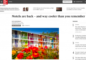 Motels are Back Globe and Mail Retro Roadmap