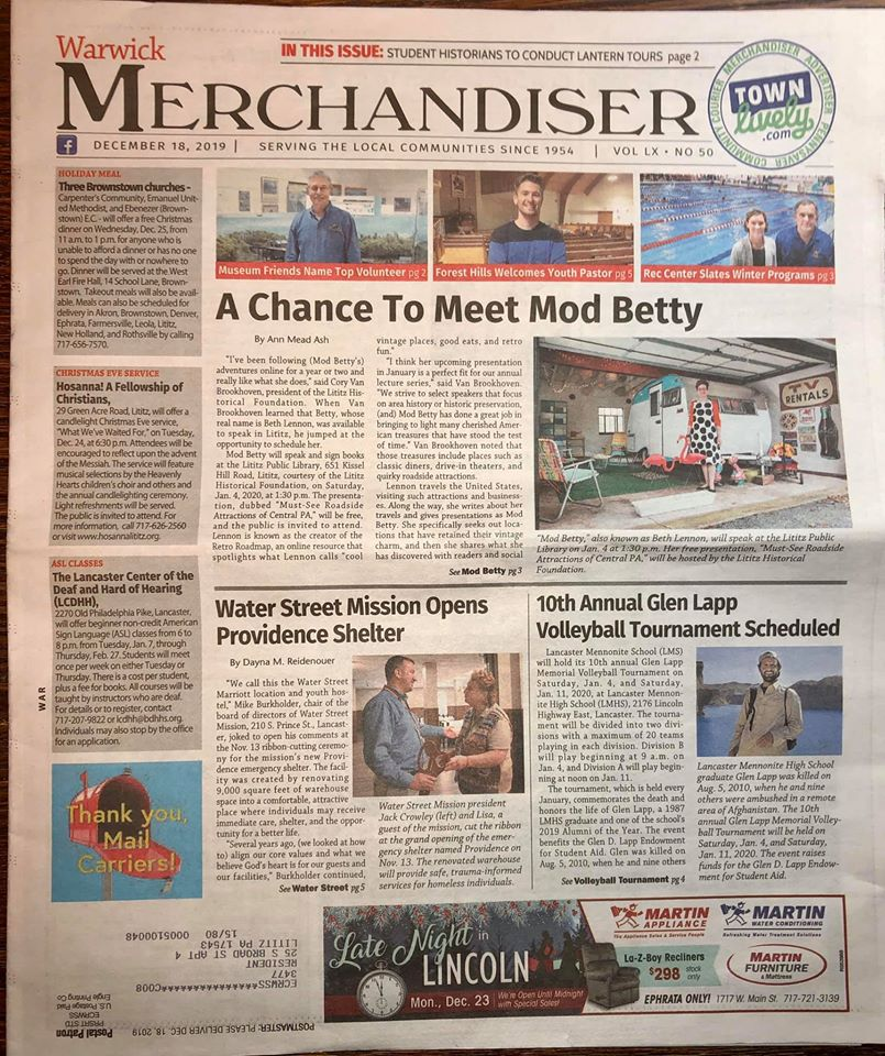 Retro Roadmap Mod Betty Lititz  Town Lively Merchandiser december 18 2019