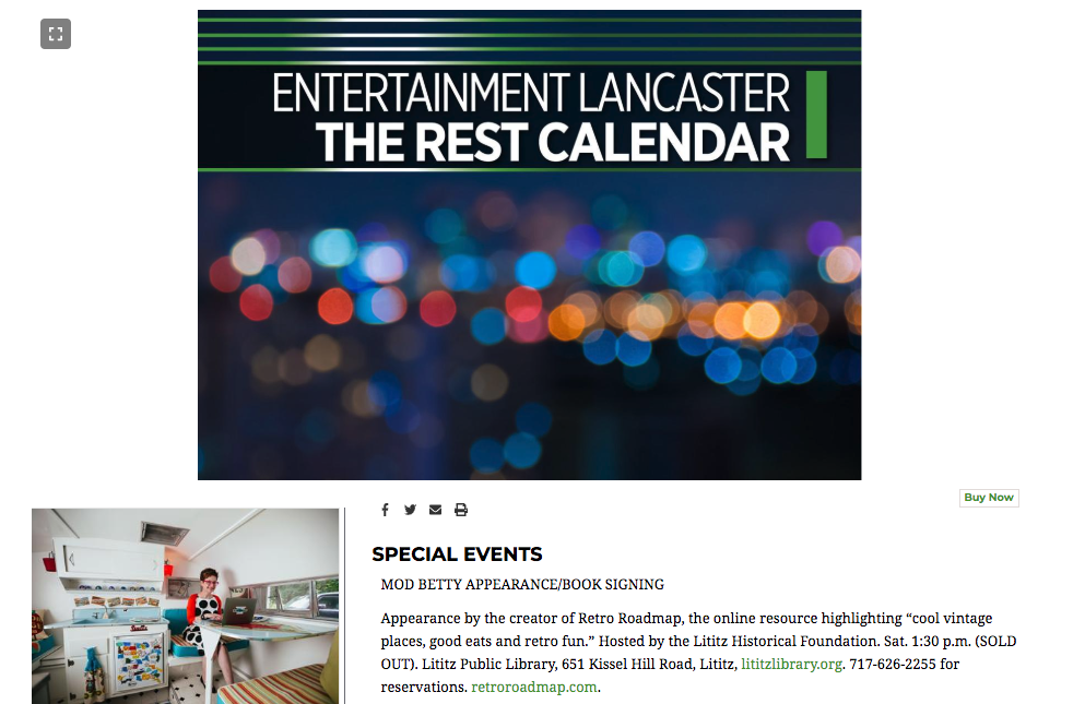 Retro Roadmap Lancaster Online Calendar Entry Jan 2020