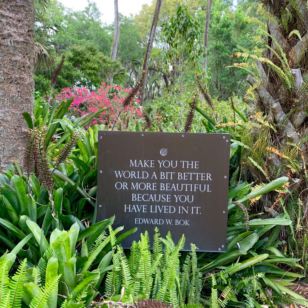 Edward Bok quote Bok Gardens Florida