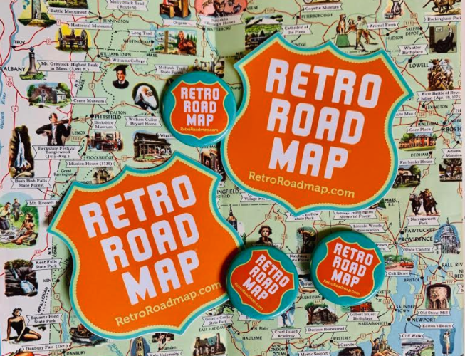 Retro Roadmap Stickers Pins Stickermule